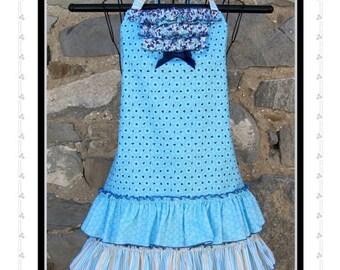 Blue Daiquiri Apron Pattern by Sew Much Good Ruffled Multi Size