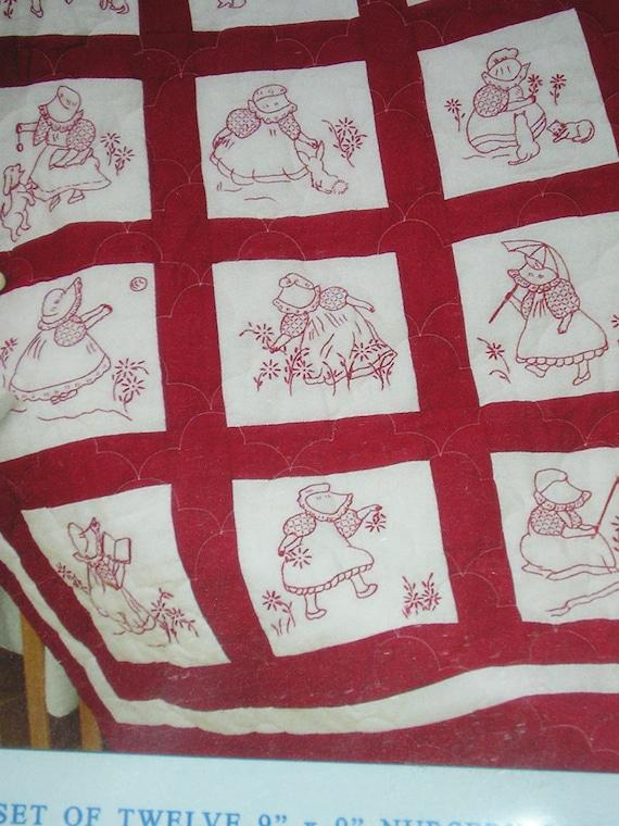 Jack Dempsey 9 Nursery Quilt Blocks Sunbonnet Girls