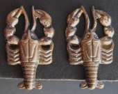 Sterling Lobster Earrings Vintage Silver