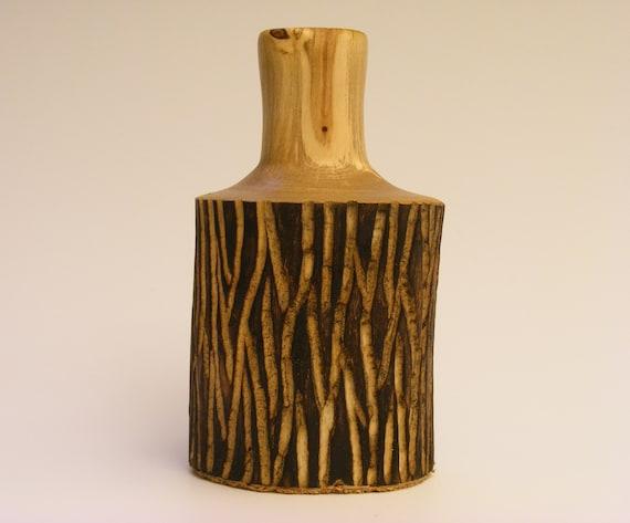 Rustic Bud Vase, Wooden Weed Pot 4, Centerpiece Vase