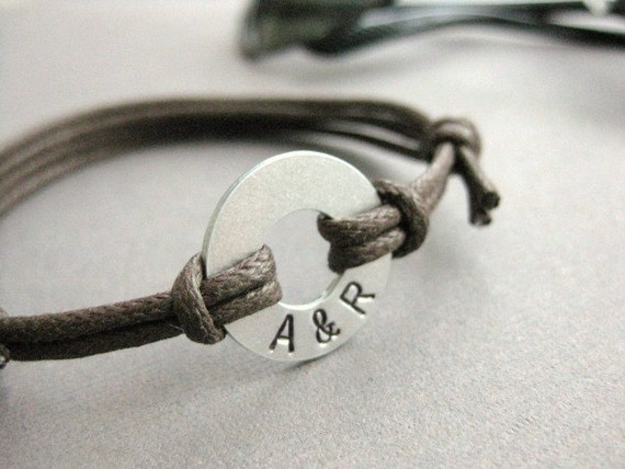 Men's Bracelet, Small Aluminum Disk with Stamped initials and adjustable BROWN cord, MB 103
