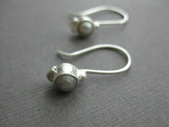 Simple Sterling Earrings with Pearl,  E 214