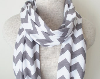 READY TO SHIP - Chevron Infinity Scarf - Jersey Knit - Grey and White