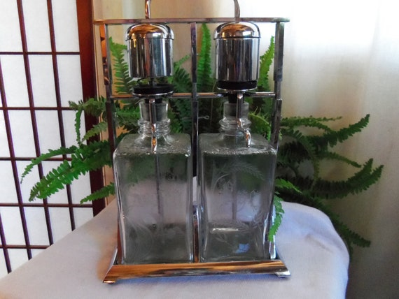 Vintage Tantalus Chrome and Etched Glass Liquor Pump Scotch and Rye Decanters