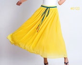 Yellow chiffon prom skirt (0122) - xiaolizi