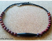 BAHATI... red brown stone bead necklace