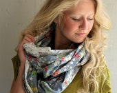 Lace Infinity Scarf Off WhiteLace and Butterflys Grey Floral Women's Loop Scarf Off White Lace GORGEOUS