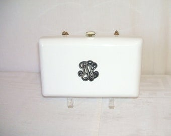 Vintage White Minaudiere Clutch Purse