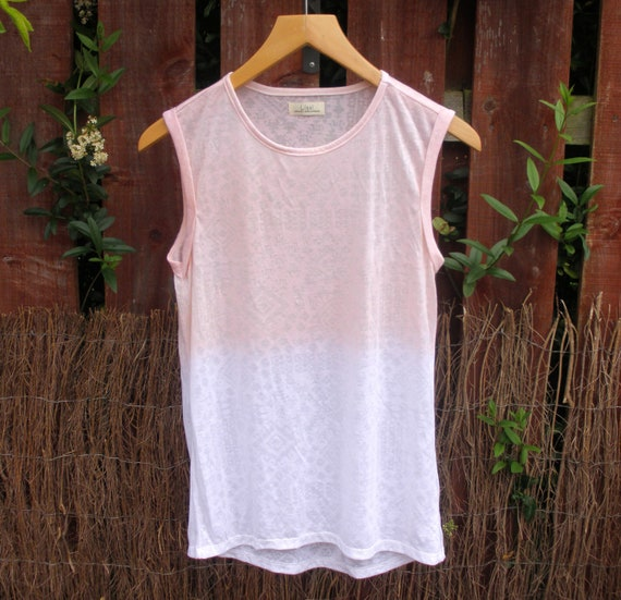 Dip Dyed Just Peachy Devore T-shirt - Womens Hand Dyed Organic Ombre Top - High Summer Fashion