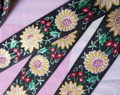 2 yds, 7/8 inch wide Vintage Flowers in Pink and Yellow on Black Jacquard Ribbon