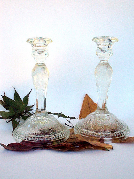 Vintage Depression Glass Candlesticks, cr. 1930s, Indiana Glass, Clear-Sandwich Pattern Discontinued  RESERVE FOR Kate