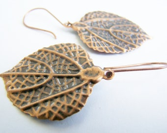 The Poplar Tree - Leaf Earrings - A nature inspired gift - affordable - delicate looking - lightweight - unique - copper