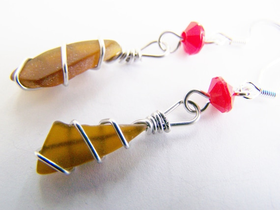 Natural Seaglass Earrings on Sterling with red rondelles - OOAK one of a kind - affordable gifts - bridesmaids - weddings