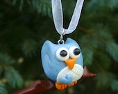 Blue Owl Christmas Ornament. Polymer Clay - Emariecreations