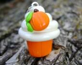 Polymer Clay Pumpkin Cupcake Charm, Cupcake Charm, Food Charm, Seasonal Charms