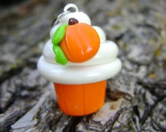 Polymer Clay Pumpkin Cupcake Charm, Cupcake Charm, Food Charm, Seasonal Charms