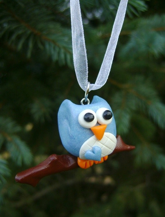 Blue Owl Christmas Ornament. Polymer Clay