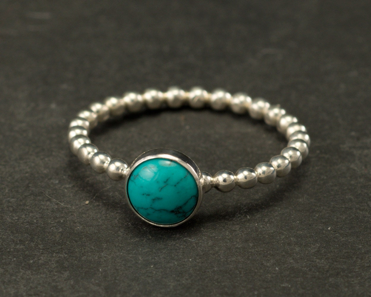Turquoise Ring- Silver Turquoise Ring- Blue Stone Ring- Sterling ...
