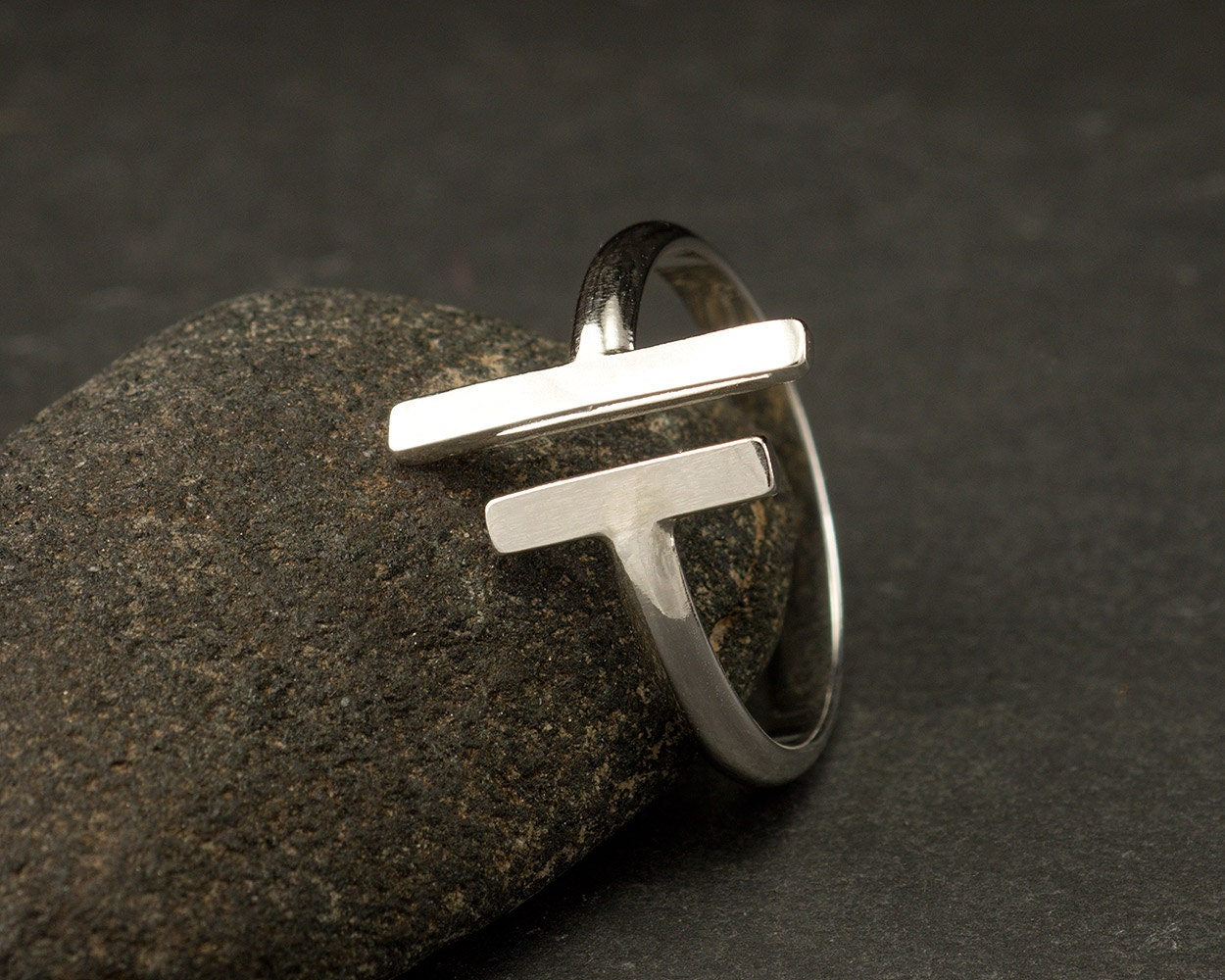 parallel bars sterling silver ring simple silver ring