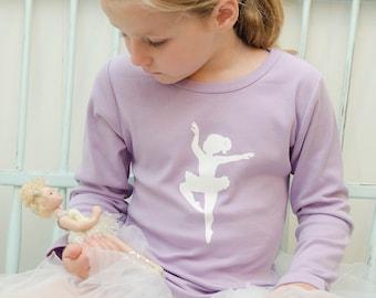 Classic Ballerina Long Sleeved Lettuce Nostalgic Graphic Tee in Lavender/White