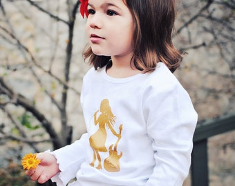 Half Off! Now only 15.50! Sparkling Starlet Long Sleeved Nostalgic Graphic Tee in White with Gold Metallic Sparkle Ink