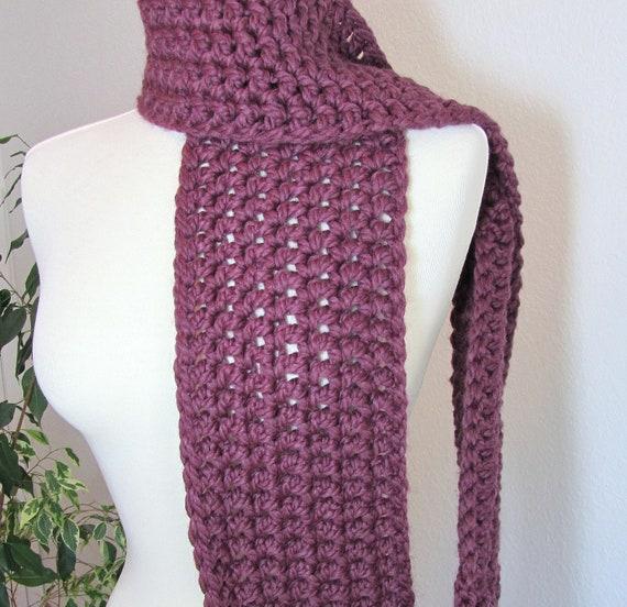 Infinity Circle Scarf Purple Neckwarmer Long Chunky Mesh Cowl Merlot Berry Wool Blend Yarn Winter Accessory Unisex Fashion Crochet by Lilena