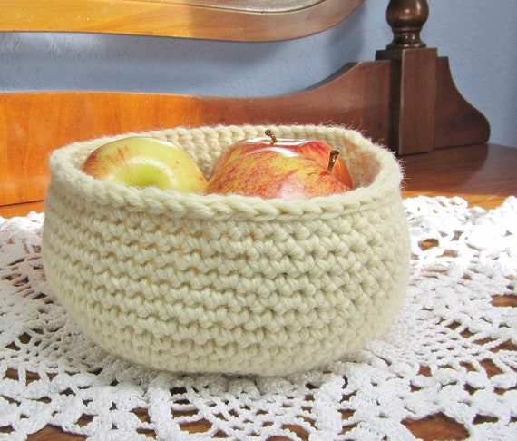 Ivory Yarn Basket Fruit Bowl Round Storage Crochet Organizer Cream Fabric Container Ecru Pot Home Decor Housewarming Gift