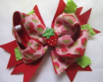 CUSTOM HAIR BOWS-Double Layered Boutique Style Hair Bow-Strawberry Hair Bow