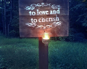 To Love and Cherish Wedding post sign