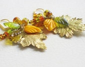 golden leaf dangle earrings - fall, autumn, gold leafed, autumn golds, oranges