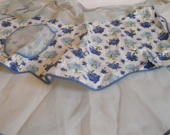 Vintage Sheer Hostess Apron Satin Blue Flowers