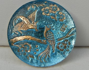 Two Exotic Birds Czech Glass Button