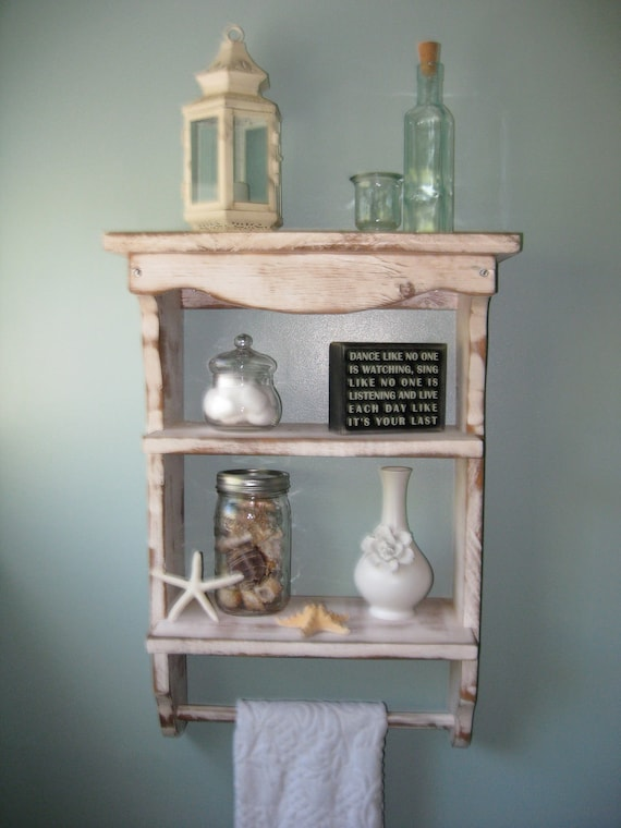 Spice Rack Bath Decor Shelf Rustic Shelves Barn Wood Bathroom