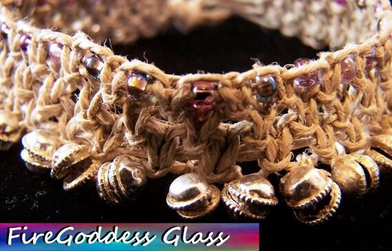 Handmade Hemp Jewelry - Beaded Gypsy Jingle Bell Anklet by FireGoddessGlass on Etsy.com