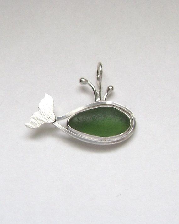 Sea Glass Jewelry - Sterling Green Sea Glass Whale Pendant