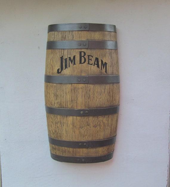 Vintage Home Bar Decor/  Whiskey Faux Half Barrel Store Display / Jim Beam