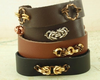 4 Leather and Chainmaille Bracelet Kits - Fast and Easy Jewelry Making