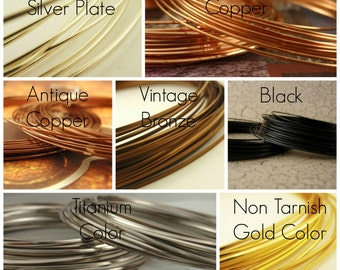 21 gauge HALF ROUND Wire Non Tarnish 100% Guarantee Silver Plate, Gold Color, Titanium Color, Copper, Antique Copper, Vintage Bronze, Black
