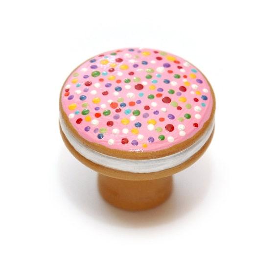 Vanilla Wafer & Sprinkles COOKIE SANDWICH Wooden KNOB by RustiLee