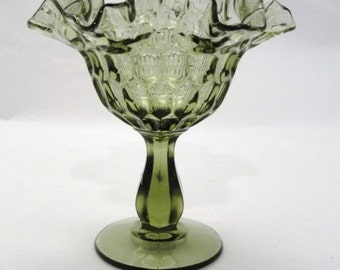 Vintage Fenton Colonial Green Thumbprint footed Compote