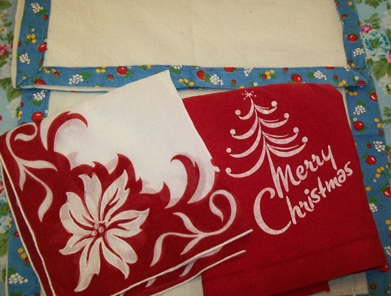 SALE - 4 Vintage items, including 1 hankie, 1 linen hand towel, 2 napkins, red, white, 1960s, 1950s, Christmas, handkerchief