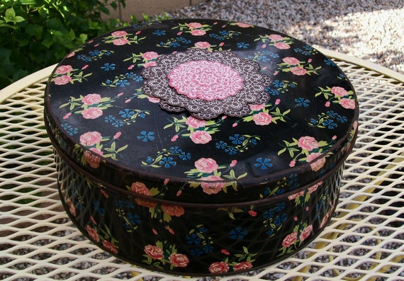SALE - Vintage metal floral tin box, pink, rose, black, container, 1960s, 1950s, rustic, chippy, storage, supplies