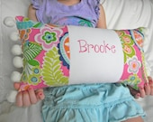 Personalized Vibrant Floral Pink and Lime Green Pillow