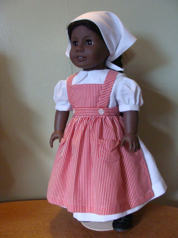 Candy striper outfit for  18 inch doll