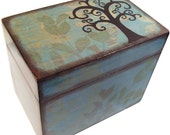 Recipe Box Decoupaged Tree Box Large, Handcrafted  Kitchen Storage, Organization Holds 4x6 Recipe Cards MADE TO ORDER