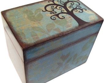 Recipe Box Decoupaged Tree Box Large, Handcrafted  Kitchen Storage, Organization Holds 5x7 Recipe Cards MADE TO ORDER