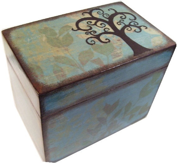 Recipe box decoupaged tree box large handcrafted kitchen zoom thecheapjerseys Images