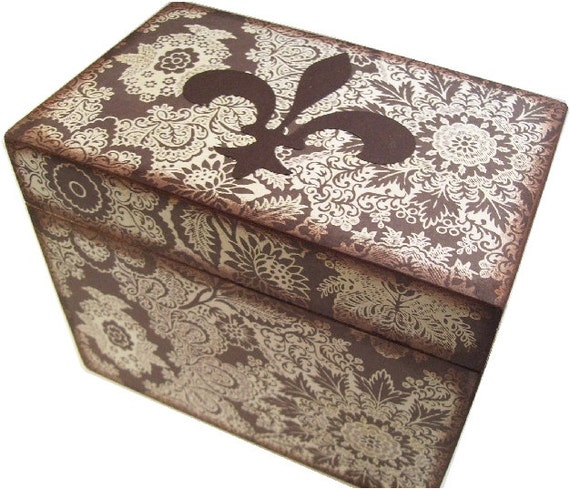 Wedding Guest Book Box Alternative Cream and Brown Fleur de Lis Box Large Handcrafted Box Holds 4x6 MADE To ORDER