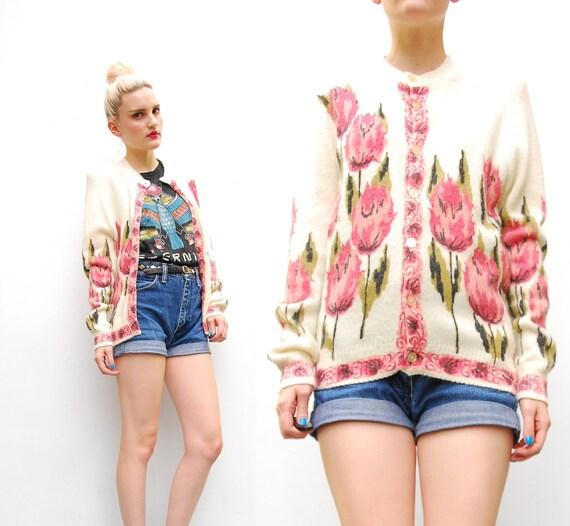 50s 60s Sweater Cardigan - Pink Tulip Print Cardigan - Floral Knit Sweater Cardigan - 1960s Orlon Sweater - Spring Cardigan - S M