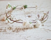 Wedding hair crown, white floral headband, rose crown, floral tiara, white flower crown, bridal hair accessories (IN IVORY) - Starry night